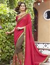 image of Fancy Dark Beige And Red Embroidered Georgette Saree