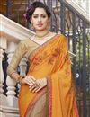 photo of Orange And Dark Beige Georgette Designer Embroidered Fancy Saree