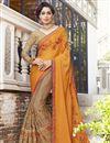 image of Orange And Dark Beige Georgette Designer Embroidered Fancy Saree