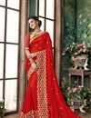 image of Georgette Tradtional Red Fancy Saree