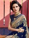 photo of Navy Blue Georgette Occasion Wear Saree With Embroidery Work