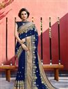 image of Navy Blue Georgette Occasion Wear Saree With Embroidery Work