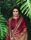 photo of Fancy Fabric Party Wear Saree In Cream With Embroidery Work