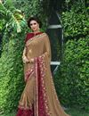 image of Festive Wear Saree In Cream Fancy Fabric With Embroidery Designs