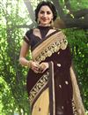 photo of Georgette Brown And Cream Designer Saree With Embroidery Designs