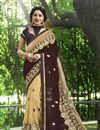 image of Georgette Brown And Cream Designer Saree With Embroidery Designs