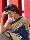 photo of Blue And Grey Embroidered Georgette Designer Saree