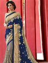 image of Blue And Grey Embroidered Georgette Designer Saree
