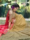 photo of Art Silk And Georgette Embroidery Designs On Peach And Beige Party Wear Saree