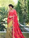 image of Art Silk And Georgette Embroidery Designs On Peach And Beige Party Wear Saree