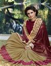 photo of Brown And Cream Embroidery Work On Georgette And Fancy Fabric Occasion Wear Saree