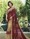 image of Brown And Cream Embroidery Work On Georgette And Fancy Fabric Occasion Wear Saree