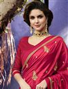 photo of Embroidery Designs On Pink Art Silk And Georgette Party Wear Saree