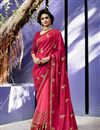 image of Embroidery Designs On Pink Art Silk And Georgette Party Wear Saree