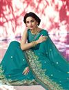 photo of Embroidery Designs On Teal Designer Saree In Georgette Fabric