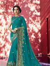 image of Embroidery Designs On Teal Designer Saree In Georgette Fabric