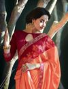 photo of Georgette Party Wear Saree In Maroon With Embroidery Work