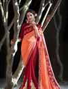 image of Georgette Party Wear Saree In Maroon With Embroidery Work