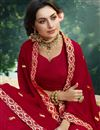 photo of Embroidery Designs On Red Designer Saree In Georgette Fabric
