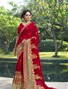 image of Embroidery Designs On Red Designer Saree In Georgette Fabric