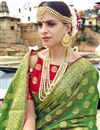 photo of Art Silk Designer Traditional Weaving Work Green Saree