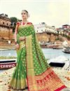 image of Art Silk Designer Traditional Weaving Work Green Saree