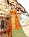 image of Art Silk Weaving Work Designer Orange Saree