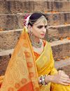 photo of Weaving Work Art Silk Designer Yellow Saree