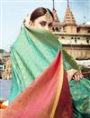 photo of Wedding Special Art Silk Weaving Work Fancy Designer Green Saree