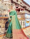 image of Wedding Special Art Silk Weaving Work Fancy Designer Green Saree