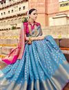 photo of Wedding Special Weaving Work Function Wear Sky Blue Saree