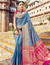 image of Wedding Special Weaving Work Function Wear Sky Blue Saree