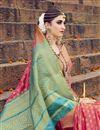photo of Fancy Art Silk Weaving Work Designer Pink Saree