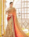 image of Wedding Function Wear Cream Georgette Designer Saree