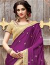 photo of Embroidery Work On Dark Brown And Purple Designer Saree In Art silk And Satin Fabric