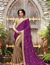 image of Embroidery Work On Dark Brown And Purple Designer Saree In Art silk And Satin Fabric