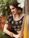 photo of Georgette And Chiffon Party Wear Saree In Black And Yellow With Embroidery Designs