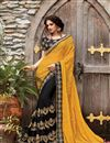 image of Georgette And Chiffon Party Wear Saree In Black And Yellow With Embroidery Designs