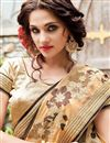 photo of Georgette Dark Brown Designer Saree With Embroidery Designs