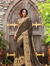 image of Georgette Dark Brown Designer Saree With Embroidery Designs