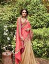 photo of Embroidery Designs On Pink And Beige Banarasi Silk Festive Wear Saree