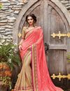 image of Embroidery Designs On Pink And Beige Banarasi Silk Festive Wear Saree