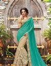 image of Cyan And Cream Net Designer Saree With Embroidery Work