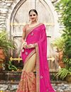 image of Net And Chiffon Designer Saree With Embroidery Designs In Pink And Cream