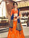 image of Occasion Wear Orange Lehenga Choli In Banarasi Silk Fabric With Weaving Work