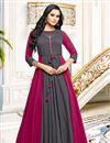 image of Grey Gown Style Long Kurti In Fancy Fabric