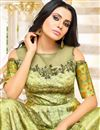 picture of Party Wear Fancy Sea Green Long Gown Style Kurti