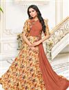 image of Fancy Fabric Party Style Long Gown Style Kurti In Rust