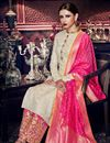 photo of Wedding Special Beige Art Silk Embroidered Function Wear Palazzo Salwar Suit