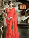 image of Salmon Color Fancy Fabric Saree With Embroidery Work On Blouse And Border